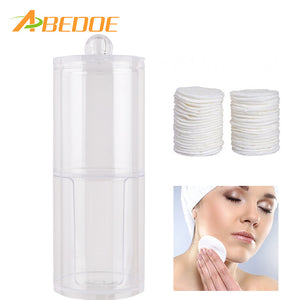 Transparent Dual Layer Cylinder Acrylic Cotton Pads Swab Storage Box Makeup Cotton Container