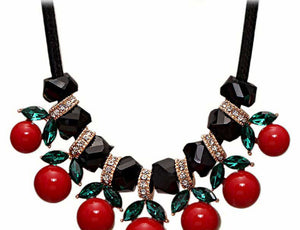 Women Cherry Pendant Flower Choker Necklace Jewelry Clavicle Chain Necklace