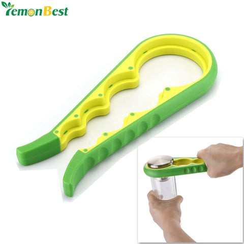 4 in 1 Beer Bottle Jar Opener Anti-slip Can Lid Opener Gourd-shaped Can Opener