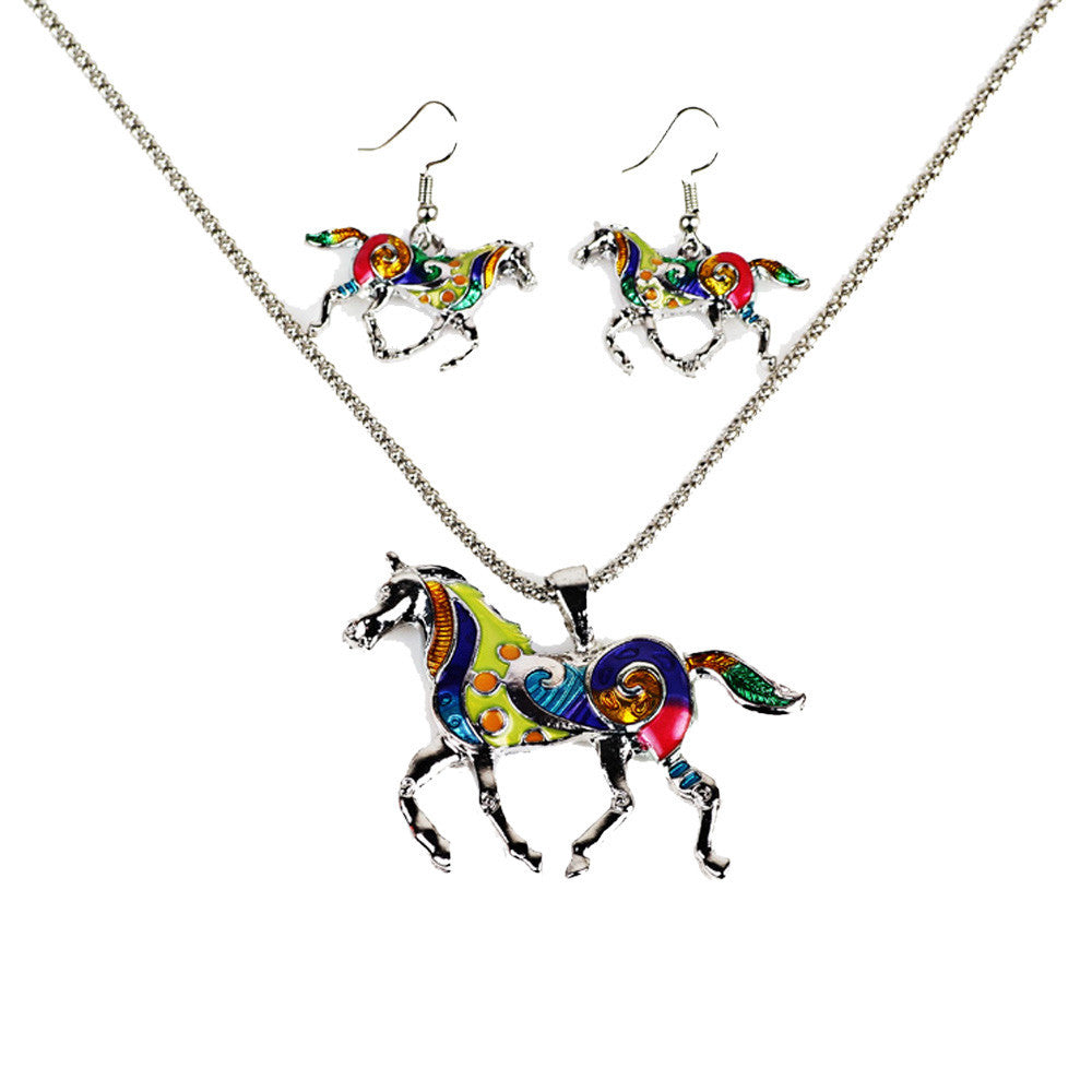 Women's Elegant Vintage Steed Necklace Statement Earrings