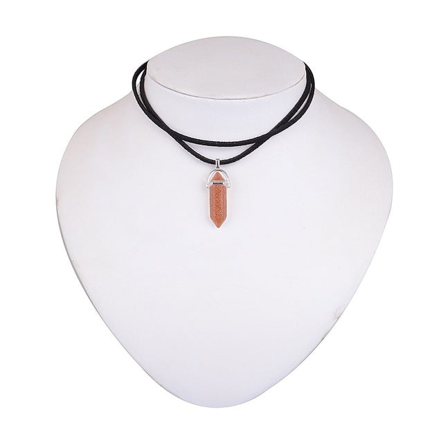 Natural Stone Opal Pendant For Women Bullet Shape Necklace Stone Crystal Choker Necklaces