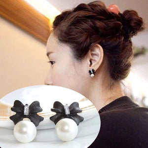 Lady Fashion Style Bow knot Pearl Cute Vintage Stud Earrings