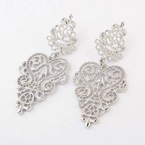 Women Ladies Earrings Bohemia Style Hollow Earring Stud Silver