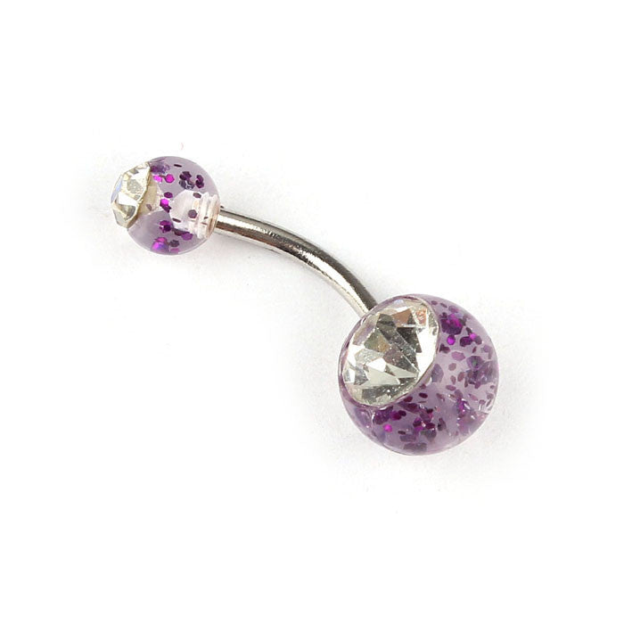 Navel Belly Button Ring Barbell Rhinestone Crystal Ball Piercing Body