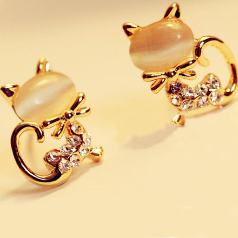 Korean Fashion Cute Cat Stone Crystal Rhinestone Women Stud Earrings