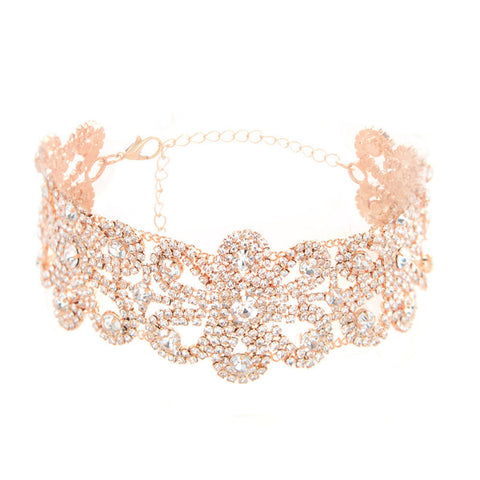 Big Crystal Flowers Collar Choker Necklace Vintage