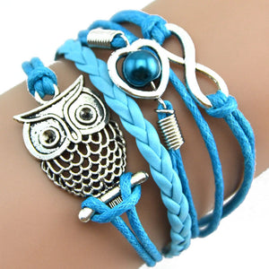 Infinity Owl Pearl Friendship Multilayer Charm Leather Bracelets