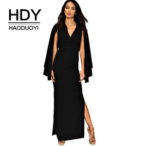 Women Dress Cape Open Sleeve Bodycon Dress Long  Black High Slit Dresses