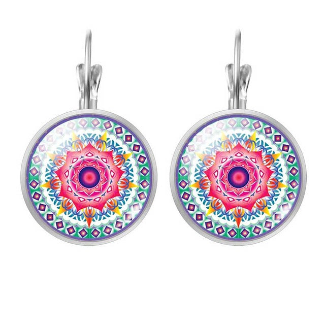 LIEBE ENGEL New Fashion Jewelry Mandala OM Symbol Glass Cabochon Earring Buddhism Zen Handmade Stud Earrings For Women