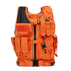 Bright Orange Military Tactical Molle Airsoft Vest Outdoor Body Armor Swat Combat Paintball