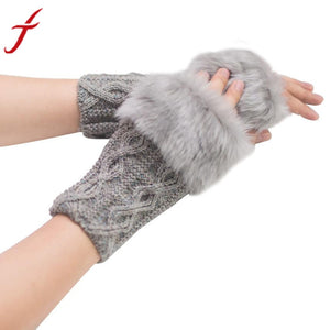 Winter Gloves Women Girl Warm Winter Faux Rabbit Fur Knitted Wrist Fingerless Gloves