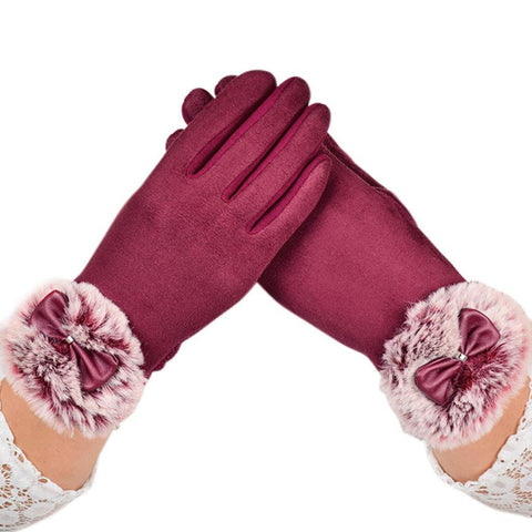 Winter Rabbit Fur Gloves Women Velvet Warm Glove Soft Wrist Thick Mitten