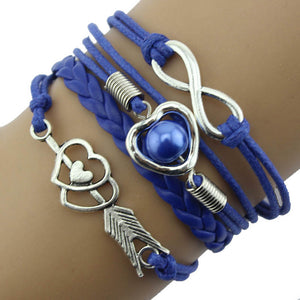Infinity Love Heart Pearl Friendship Antique Leather Charm Bracelet