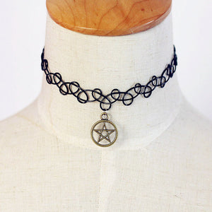 Tattoo Magic Choker Necklace Stretch Double Layer Henna Vintage torque