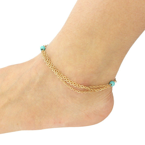 Turquoise Beaded Tassel Multilayer Anklets