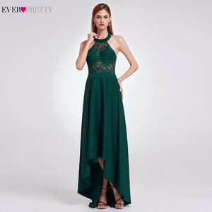 Sexy Backless Halter Asymmetric Lace High Low Prom Party Dresses