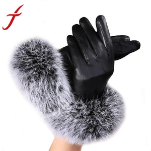 Women Lady Black Leather Gloves Rabbit Fur Mittens