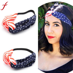 Women American Flag Sporting Sweatband  Hairbands Bandana Girls Hair Accessories