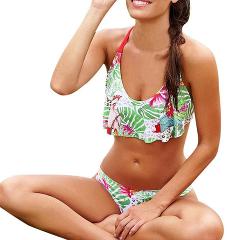 Women's swimsuits  Printed Halter Crop top Costumes for women