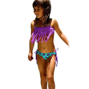 2Pcs Kids Girl Swimsuit Tassel children swimwear sw
