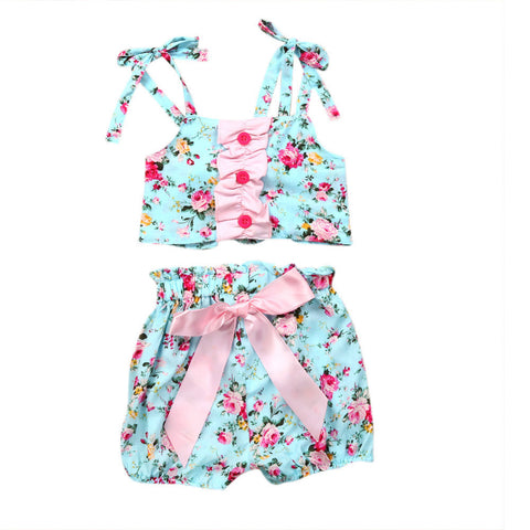 Two Piece Girls Floral Print Bikini Suit Swimsuit Swimwear Bathing Clothes