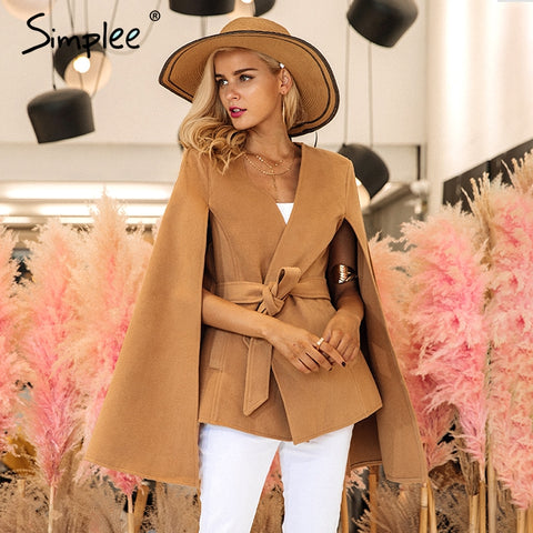 Simplee Elegant v neck winter cape coat Women long sleeve belt cloak