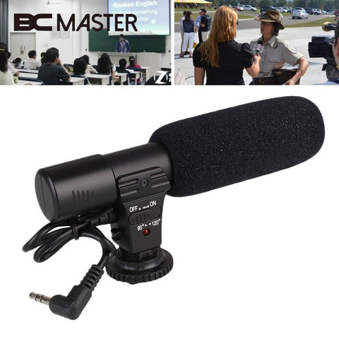 Portable Wired Pro Video Shotgun Stereo Recording Microphone Mic for DSLR Camcorder Camera 3.5mm Jack