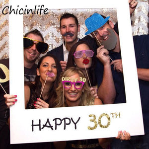 Happy 30/35/40/50th Paper Photo Booth Props Photo Frame