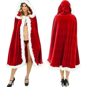 Santa Claus Cloak Hooded Women Christmas Dress Costume Cape Long