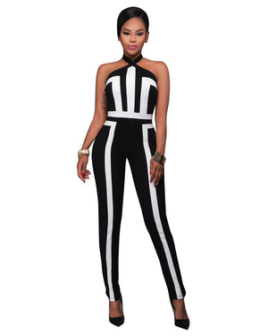 Casual Sleeveless Jumpsuit Halter Neck Rompers Sexy Women Ladys Dressing