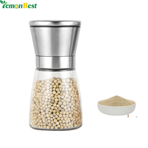 Stainless Steel Salt And Pepper Mill Spice Salt and Pepper Grinder With Glass