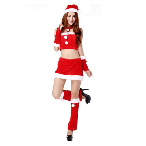Ladies Santa Costume Women Christmas Party  Two Parts Dress