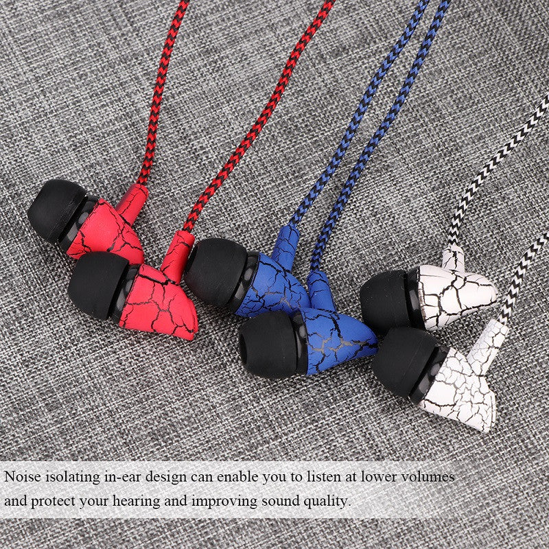 3.5mm Nylon Braided Crack Wired Earphone Cloth Rope Earpieces Stereo Bass Music Headset With Mic For Cellphone MP3 MP4