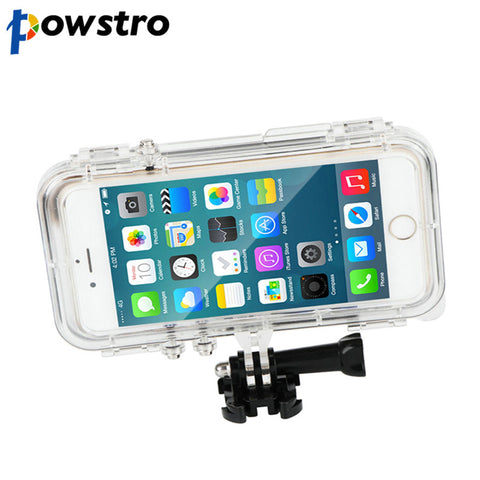 Powstro Sports Waterproof Shockproof Phone Case Wide Angle Fish-eye Lens Hanging Strap