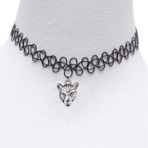 Tattoo Leopard Choker Necklace Stretch Double Layer Henna Vintage torque