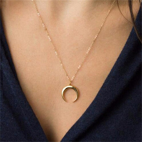 kolye pendant Necklace Curved crescent moon necklace Gold Silver women Necklace
