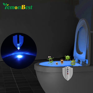 Lemonbest Motion Sensor Auto ON/OFF Toilet Light LED RGB Night Lamp with UV-C Light Hanging Light Bowl IP65 Battery-Operated