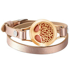 Bracelets for Women Rose Gold color tree of life leather bracelet aromatherapy perfume diffuser bangle jewelry