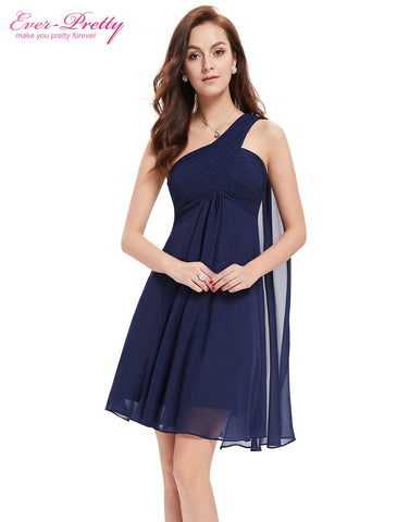One Shoulder Ruffles Padded Chiffon Short cocktail Dresses