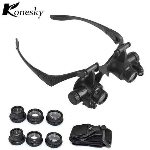 10X 15X 20X 25X Jewelry Watch Repair Magnifying Eyewear With 2LED Lights Loupe Microscope