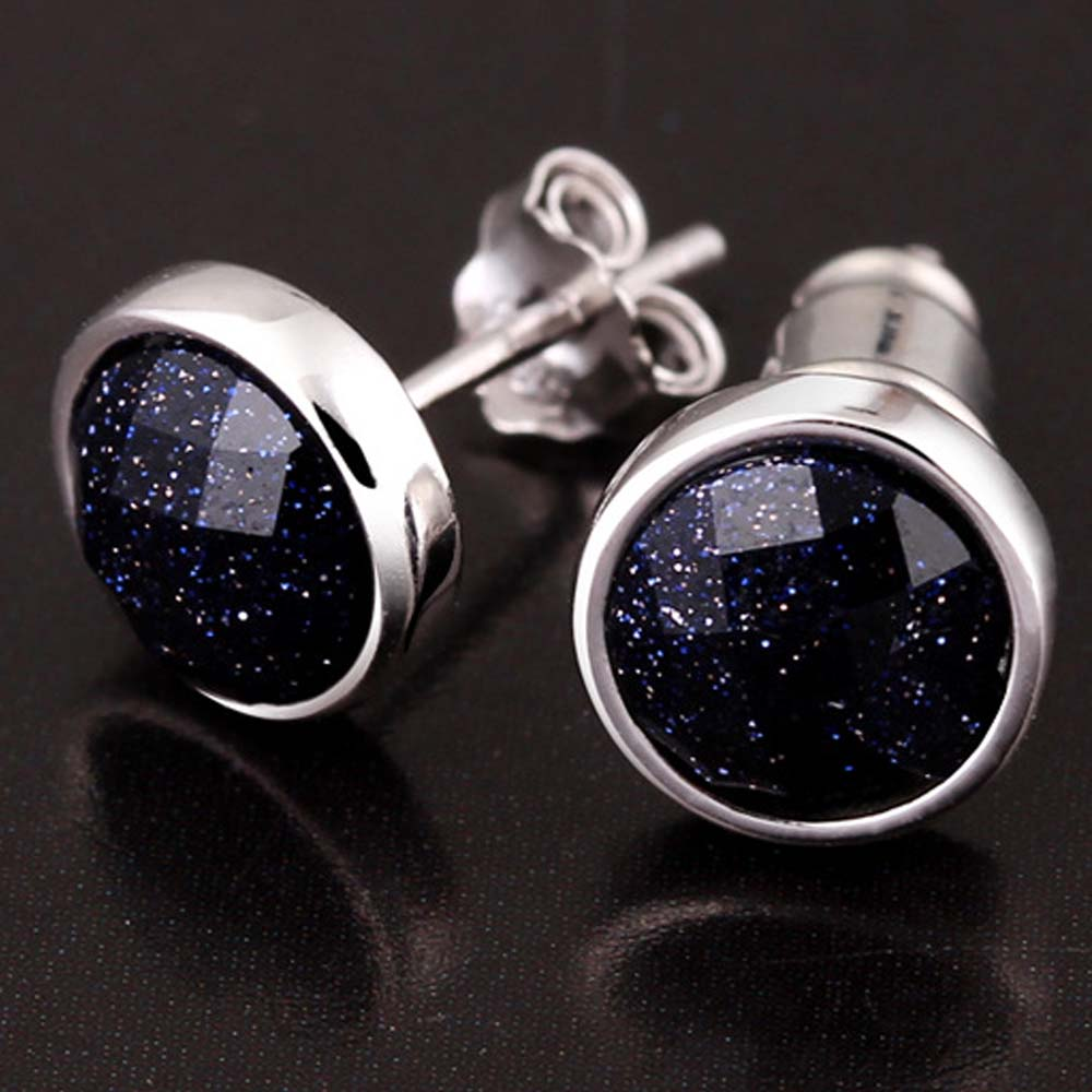 LUBINGSHINE 1 Pair Blue Black Stone Women Men Stud Earrings Multi Shape Geometric Earring For Male Silver Earings Jewelry E431