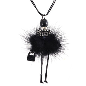 Doll Necklace Long Chain Pendant Rhinestone Necklaces Women Girl Crystal Bag