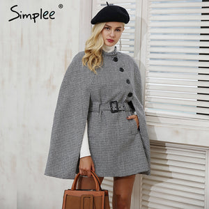 Simplee Houndstooth long sleeve winter cape coat