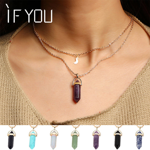 Unicorn Multi Color Natural Stone Quartz Pendants Maxi Necklace For Women