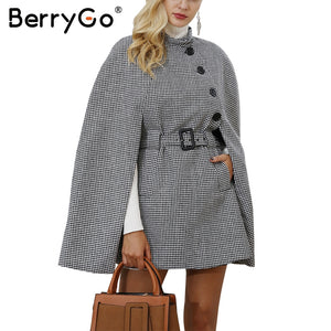 Berry Go Hounds tooth long sleeve winter cape coat