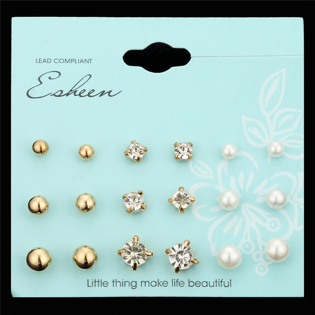 IF YOU Fashion Classic Crystal Stud Earrings Set for Women Simulated Pearl Ball Earrings Round Square Brincos Lady Girl Jewelry