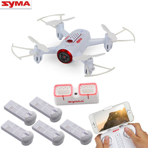 Syma X22W Wifi FPV Pocket Drone HD Camera Headless Mode RC Drone with Flight Plan and App Control White