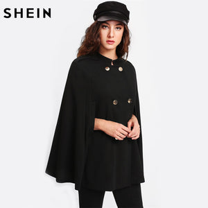 Women Double Breasted Cape Coat Black Long Vintage  Collar Cloak Sleeve