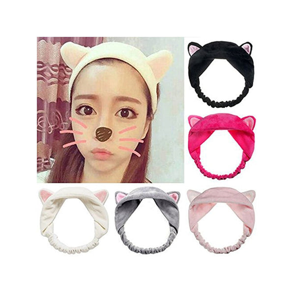 5pcs Cute Cat Ear Hair Band Women Wash Face Hairbands for Makeup Running Sport