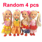 4psc/set random Mixed Sorts small doll with dress and shoes for mini kally doll american girl doll toys for children brinquedo